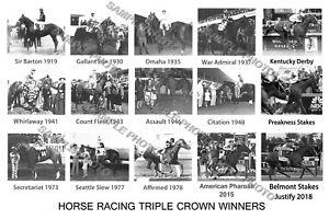 JUSTIFY AMERICAN PHAROAH SECRETARIAT BELMONT TRIPLE CROWN WINNERS 12X18 PHOTO