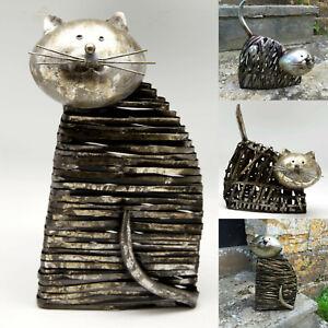 Metal Cat Ornament Sculpture Statue Figurine Garden Home Ornaments Quality Gift