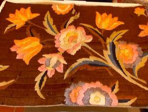 Vintage Completado Seda Bordados Puntada Larga Almohada Cojín Funda Floral Brown