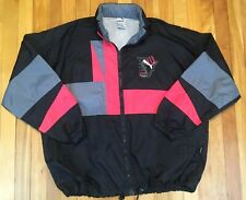 Puma Vintage 90s Color Block Black Pink Grey Windbreaker Small fit baggy Med Lrg