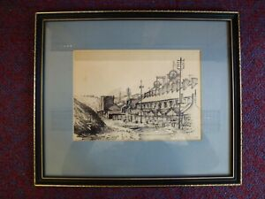 Sewiol Davies Coal Mine Mining South Wales Sketch ink drawing Welsh art 1974