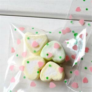 Cute Little Heart Cello Cellophane Gift Bags Wedding Party Cookies Sweet Macaron