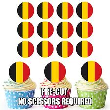 24 Circle Belgium Flags - Cup Cake Toppers Decorations Party Birthday