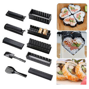 Kitchen Sushi Making Kit Rice Roller Plastic Sushi Maker Mould 10pc/set DIY Tool