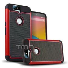 Huawei Nexus 6P Rugged Rubber Impact Hybrid Hard Shock Proof Case Cover - Red
