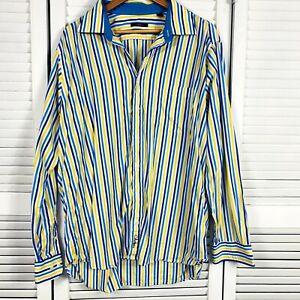 Cole Haan Shirt Sz XL Business Long Sleeve Button Up 100% Cotton Striped