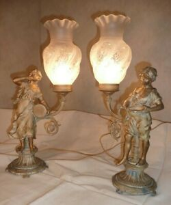 """Pair of  French Figural Lamps & Shades. Spelter, 22"""" Tall, VG Condition"""