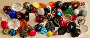 Over 50+  Vintage Glass Buttons #4724