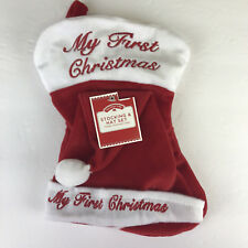My First Christmas Baby Hat & Stocking Set Red White Embroidered Dan Dee New