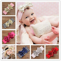 Baby Knot Sparkle Sparkling Stripe Bow Sequin Headband Infant Newborn Girl