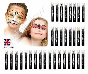 FACE & BODY PAINT STICKS Make Up Glow IN the Dark Crayons Stage Fancy Dress UK
