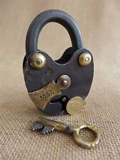 Antique Padlock with one key, working order, D.R.G.M, brass details, WW1 / WW2