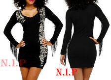 66b3ed7d193 Lip Service Fringe Feather Bodycon Party Mini Long Sleeve Goth Hot Topic  Dress