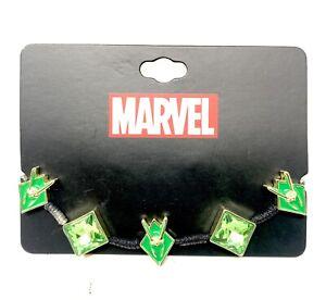Marvel Loki Cord Bracelet w/ Green Gems & Helmet Charms Disney+ Brand NEW