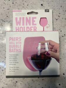 Sipski Wine Holder PINK Bubble Bath Shower Mirror Glass Cling Grip NO Adhesive