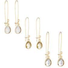 Stone Trio Multi Earring Set 3Pc Lux Accessories Gold Tone Teardrop White Opal