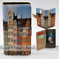 For Huawei Series - Polish Colour Buildings Print Wallet Mobile Phone Case Cover