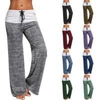 Women Flare Wide Leg Foldover Yoga Pants Comfy Stretch Soft Workout Gym Leggings
