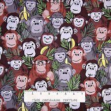 Jungle Animal Fabric - Monkey Business Packed Brown Benartex Kanvas Studio YARD