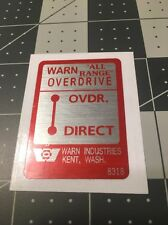 "Warn ""All Range"" Overdrive Decal For Dash 1960's Jeep"