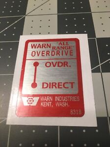 """Warn """"All Range"""" Overdrive Decal For Dash 1960's Jeep"""
