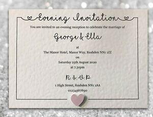 50 Wedding Invitations / Evening Invites Personalised & Handmade with Envelopes