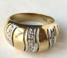 Vintage Retro 18k Gold Wavy Striped Diamond Dome Wide Cigar Band Ring~Sz6.25~6gr