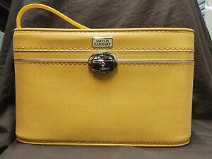 Vintage Amelia Earhart Cosmetic Travel Luggage Case Yellow With Key