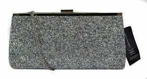 INC INTERNATIONAL CONCEPTS LEXY Silver Metallic Mesh Clutch Msrp $98.50