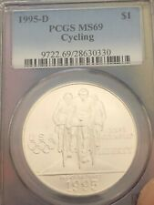 1995-D Cycling $1 Silver Commemorative Ms-69 Pcgs . Value Is $100