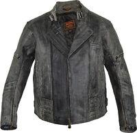 Herren Retro Motorrad Lederjacke aus Rindsleder in Antik Grau Biker Jacke