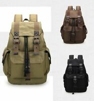 Men Women Vintage Canvas Backpack Satchel Rucksack School Bag Travel Camping