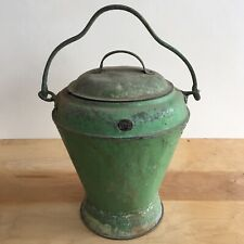Green Urn Metal Fire/Coal Bucket & Lid - Antique/Vintage/Fireplace/Woodburner