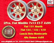 2 Cerchi Fiat Minilite 7x13 4x98 Wheels Felgen Lancia Beta Alfa Llantas Jantes