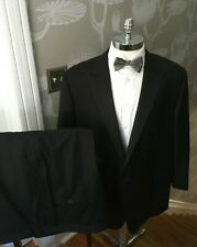 Hickey Freeman Madison Black Solid One Button Wool Tuxedo Suit 52 Short 48 x 28