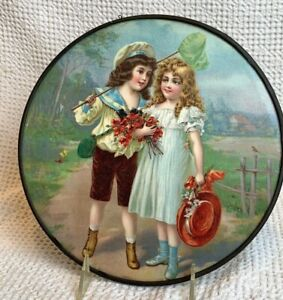 FLUE COVER LOT #62 Victorian Children with Butterfly Net and Flowers on Path WoW