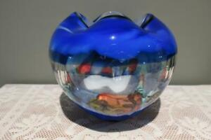Huge Hand Made Art Glass Vase - Cobalt Blue Red Yellow - 2.5kg - Vgc