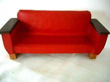 Vintage Maison De Poupées trois places en cuir rouge canapé