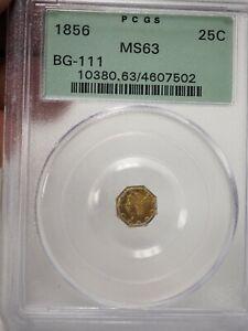 1856 BG-111 Octagonal Liberty California Fractional Gold 25c PCGS MS63