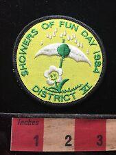 Vtg Showers Of Fun Day 1984. Rain Umbrella Flower Smiling So Cute Patch 71U5