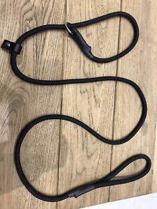 Dog Lead - Black 1.5m Halter Figure 8 Slip Anti-Pull 8mm Rope