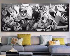 """XXL-PANORAMA-LEINWAND 170x70x5""""Guernica"""" PICASSO BILD SCHWARZ-WEISS GEMÄLDE IKEA"""