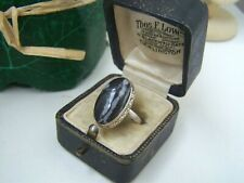 GORGEOUS VINTAGE ORNATE SOLID STERLING SILVER BANDED AGATE RING SIZE P 7.5