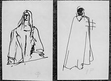GRACE POLOGE - TWO  ORIGINAL DRAWINGS PEOPLE OF FAITH - C.1960 - FREE SHIP!