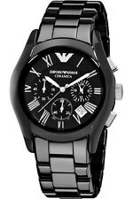Emporio Armani AR1400 Ceramica Mens Chrono Luxury Sports Blk Ceramic Watch SALE!