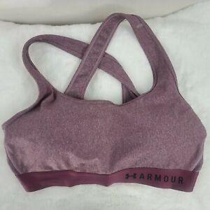 Women's Under Armour Medium Impact Purple Light Heather Crossback Sports Bra XL