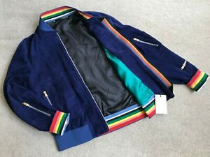 PAUL SMITH SUEDE JACKET ARTIST STRIPE TRIMS RETAIL £1550 SIZE M MADE IN ITALY