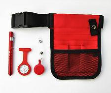 Red nurses kit - pouch + watch + penlight + retractable ID holder