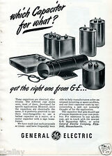 1948 Print Ad of GE General Electric which capacitor for what? Get the right one