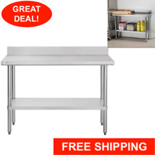 """18"""" x 48"""" Stainless Steel Nsf Commercial Kitchen Work Table with 4"""" Backsplash"""